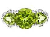 Green peridot rhodium over sterling silver ring 4.7ctw