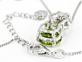Green peridot rhodium over sterling silver pendant with chain 5.03ctw
