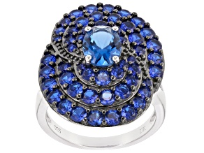Blue lab created spinel sterling silver ring 3.99ctw