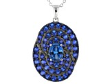 Blue lab created spinel silver pendant with chain 3.99ctw