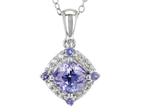 Blue tanzanite rhodium over silver pendant with chain 1.32ctw