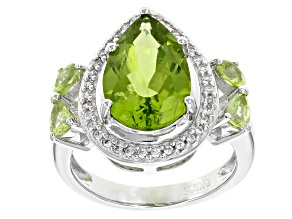 Green Peridot Rhodium Over Sterling Silver Ring 4.64ctw