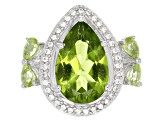 Green Peridot Sterling Silver Ring 4.64ctw