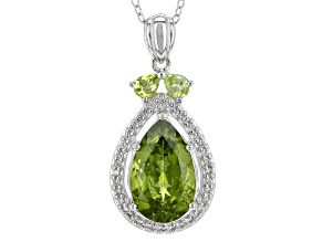 Green Peridot Silver Pendant With Chain 4.70ctw