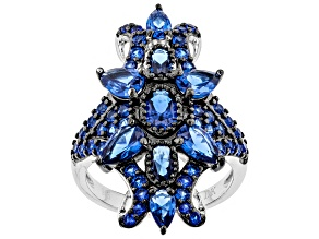 Blue lab spinel rhodium over sterling silver ring 3.52ctw