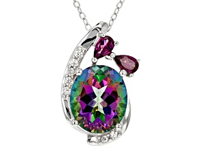 Green MysticTopaz® Rhodium Over Silver Pendant With Chain 6.25ctw