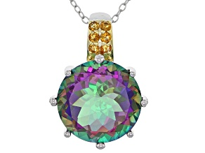 Green Mystic Topaz® silver pendant with chain 11.20ctw