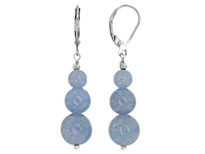 Blue Angelite Silver Earrings