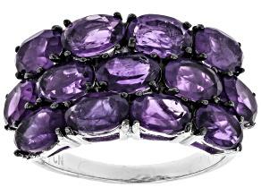 Purple Amethyst Sterling Silver Ring 5.07ctw