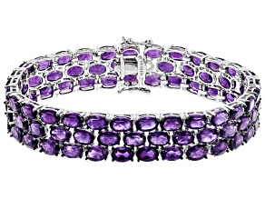 Purple Amethyst Sterling Silver Bracelet 33.54ctw