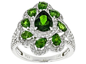 Green Chrome Diopside Sterling Silver Ring 3.42ctw