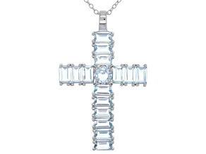 Sky Blue Topaz Silver Pendant With Chain 4.87ctw