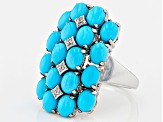Blue Turquoise Sterling Silver Ring .06ctw