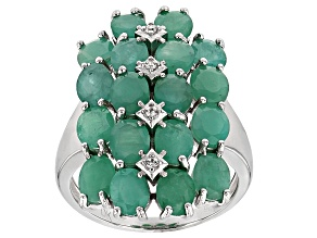Green Sakota Emerald Sterling Silver Ring 5.16ctw