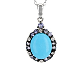 Blue turquoise sterling silver pendant with chain .48ctw