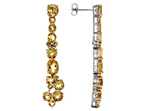Yellow Citrine Sterling Silver dangle Earrings 9.81ctw