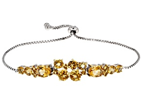 Yellow Citrine Sterling Silver Bolo Bracelet 5.53ctw