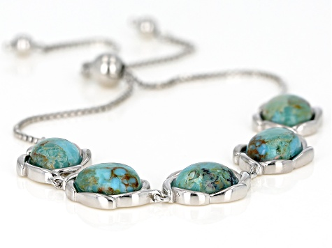 Blue Turquoise rhodium over silver bolo bracelet