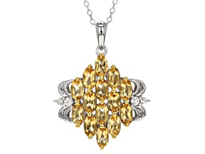Yellow Citrine Sterling Silver Pendant With Chain 3.23ctw