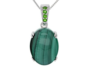 Green Malachite Sterling Silver Enhancer With Chain .14ctw