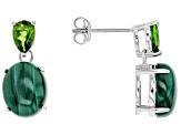 Green Malachite Sterling Silver Earrings .92ctw