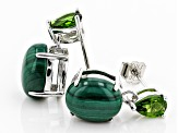 Green Malachite Rhodium Over Sterling Silver Earrings .92ctw