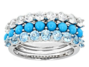 Blue Sleeping Beauty Turquoise Sterling Silver 3 Band Ring Set 2.38ctw
