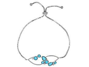 Blue turquoise sterling silver bolo bracelet .04ctw