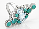 Sky blue topaz rhodium over sterling silver ring 2.59ctw
