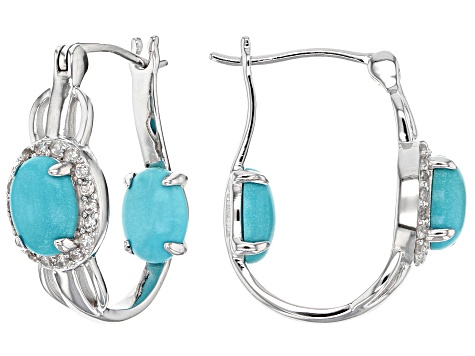 Blue turquoise sterling silver inside/outside earrings .47ctw