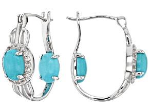 Blue turquoise sterling silver inside/outside earrings .47ctw