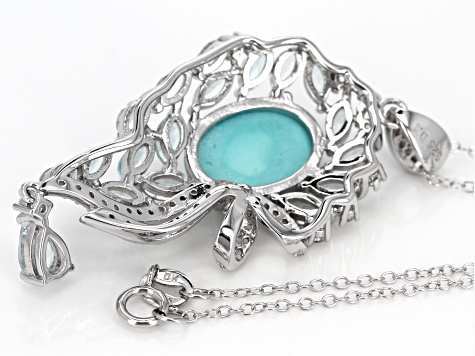 Blue turquoise silver pendant with chain 3.79ctw