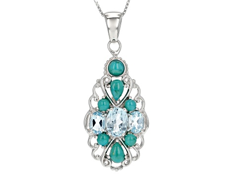 Sky blue topaz rhodium over sterling silver pendant with chain 2.02ctw