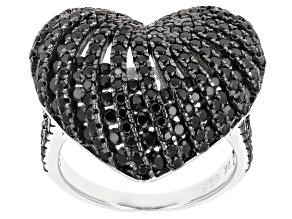 Black spinel sterling silver ring 3.00ctw