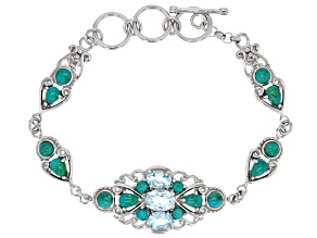 Sky blue topaz rhodium over sterling silver bracelet 2.57ctw