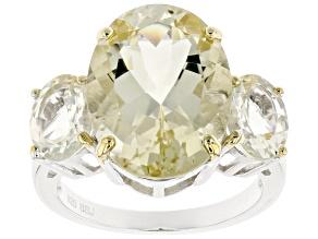 Yellow Labradorite Sterling Silver Ring 12.63ctw