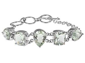 Green Prasiolite Sterling Silver Bracelet 21.11ctw