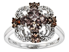 Color shift garnet rhodium over sterling silver ring 1.18ctw