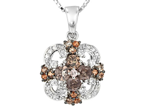 Color shift garnet rhodium over sterling silver pendant with chain 1.18ctw