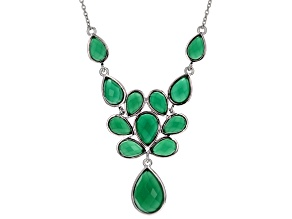 Green Onyx Sterling Silver Necklace 11.74ctw