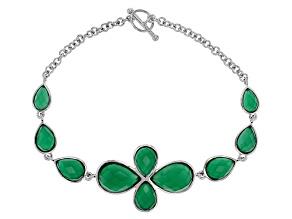 Green Onyx Sterling Silver Bracelet 16.10ctw