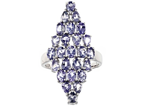 Blue Tanzanite Sterling Silver Ring 3.33ctw