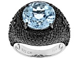 Blue Topaz Sterling Silver Ring 9.82ctw