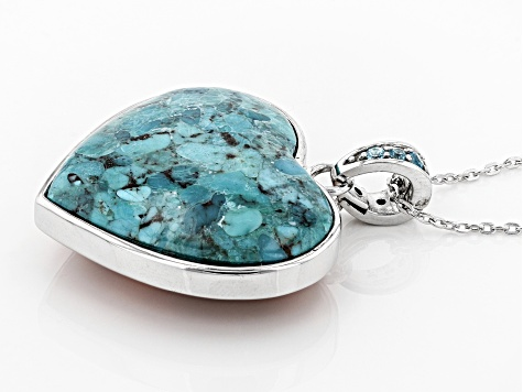 Blue Turquoise Rhodium Over Silver Enhancer With Chain .25ctw