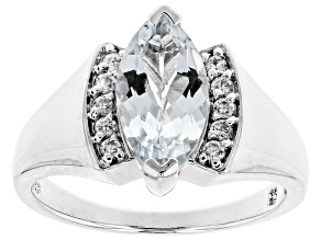 Blue Aquamarine Sterling Silver Ring 1.42ctw