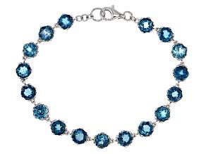 London blue topaz rhodium over sterling silver bracelet 14.45ctw