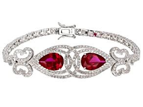 Red ruby sterling silver bracelet 13.48ctw