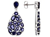 Blue Iolite Sterling Silver Earrings 6.62ctw