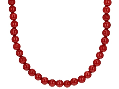 Red Sponge Coral Sterling Silver Bead Strand Necklace