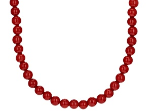 Red Sponge Coral Rhodium Over Sterling Silver Bead Strand Necklace